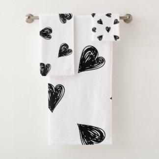 Hand Drawn Hearts Bath Towel Set