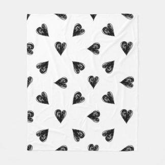 Hand drawn hearts Fleece Blanket