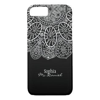 Hand Drawn Henna Circle Design Black and White Case-Mate iPhone Case