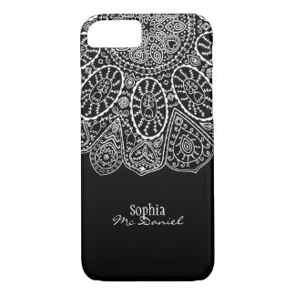 Hand Drawn Henna Circle Design Black and White iPhone 8/7 Case