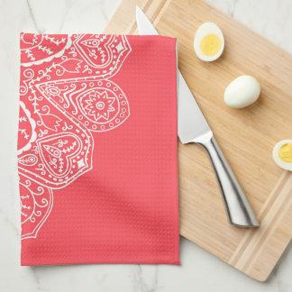 Hand Drawn Henna Circle Design Bright Coral Pink Towels