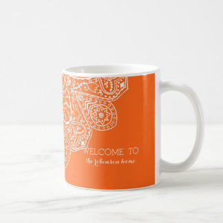 Hand Drawn Henna Lace Design Bright Citrus Orange Coffee Mug