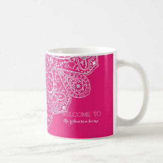 Hand Drawn Henna Lace Design Bright Fuchsia Pink Coffee Mug