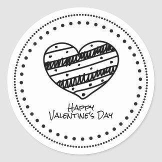 Hand-Drawn Hip Black & White Heart Happy Valentine Classic Round Sticker