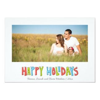 "Hand Drawn Holidays Christmas Icons Photo Card 5"" X 7"" Invitation Card"