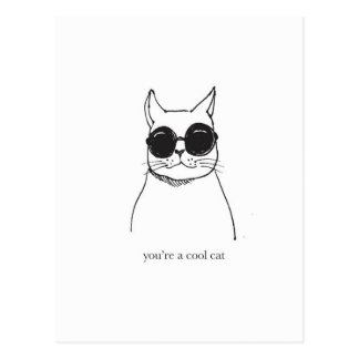 """Hand drawn illustration """"You're a cool cat"""" Postcard"""