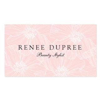 Hand Drawn Light Pink Floral Cosmetology Beauty Pack Of Standard Business Cards