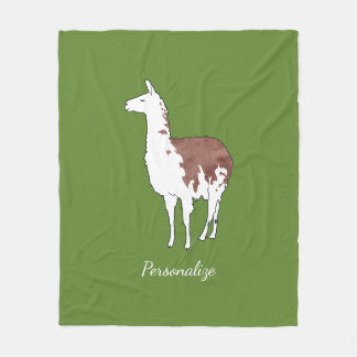 Hand Drawn Llama U-Pick Background Color Fleece Blanket