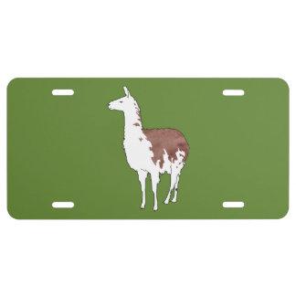 Hand Drawn Llama U-Pick Background Color License Plate