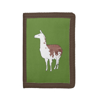 Hand Drawn Llama U-Pick Background Color Tri-fold Wallets