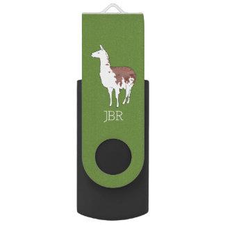 Hand Drawn Llama U-Pick Background Colour USB Flash Drive
