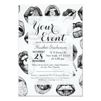 """Hand Drawn Luscious Lips in Black and White 3.5"""" X 5"""" Invitation Card"""