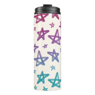 Hand-Drawn Magenta, Purple, and Teal Stars Thermal Tumbler
