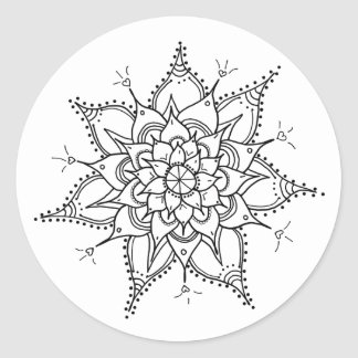 Hand Drawn, Mandala, Black and White, Zen, Heart Classic Round Sticker