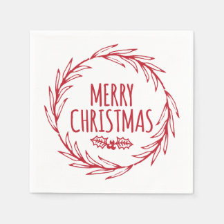 Hand Drawn Merry Christmas Wreath Holiday Napkins