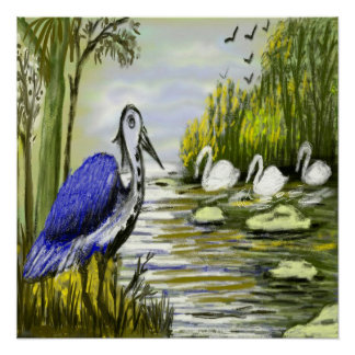 Hand Drawn Nature's Beauty and Birds Art Poster Perfect Poster