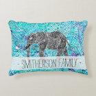 Hand drawn paisley boho elephant blue turquoise decorative pillow