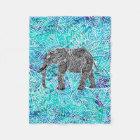 Hand drawn paisley boho elephant blue turquoise fleece blanket