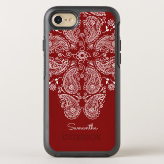 Hand Drawn Paisley Pattern on Dark Red OtterBox Symmetry iPhone 8/7 Case