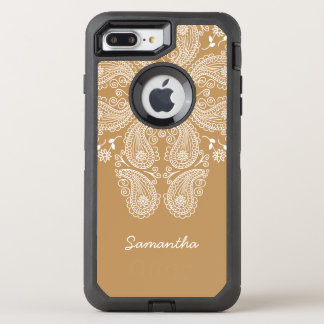 Hand Drawn Paisley Pattern on Gold, OtterBox Defender iPhone 7 Plus Case