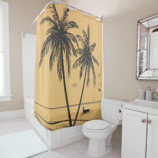 Hand drawn palm trees and beach Shower Curtain