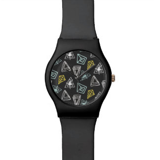 Hand Drawn Pattern with Triangles and Squiggles Watch