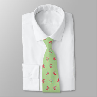 Hand Drawn Peace Sign (light green) Tie