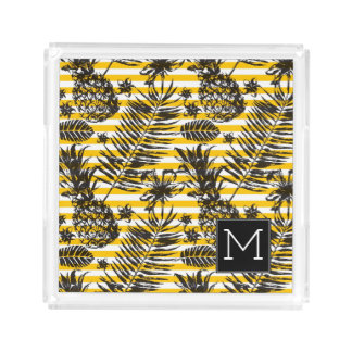 Hand Drawn Pineapples | Monogram Serving Tray