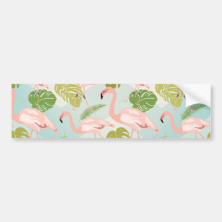 Hand drawn pink flamingo and monstera leaves. Seam Bumper Sticker