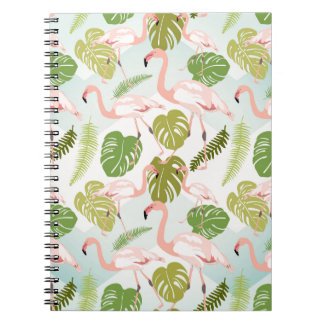 Hand drawn pink flamingo and monstera leaves. Seam Notebook