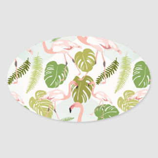 Hand drawn pink flamingo and monstera leaves. Seam Oval Sticker