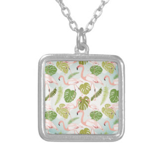 Hand drawn pink flamingo and monstera leaves. Seam Silver Plated Necklace
