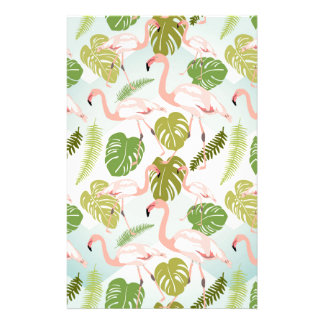 Hand drawn pink flamingo and monstera leaves. Seam Stationery
