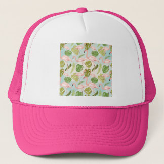 Hand drawn pink flamingo and monstera leaves. Seam Trucker Hat
