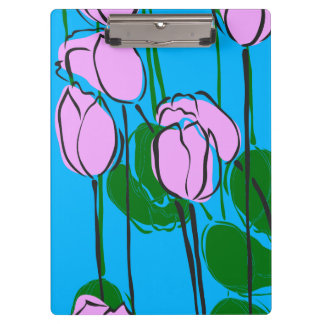Hand Drawn Pink Tulips on Sky Blue Clipboards