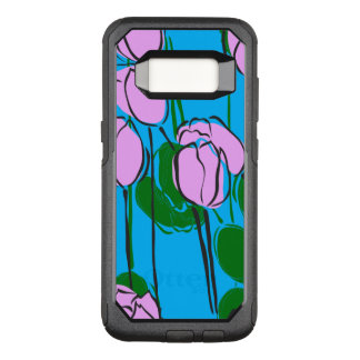 Hand Drawn Pink Tulips on Sky Blue OtterBox Commuter Samsung Galaxy S8 Case