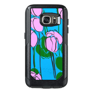 Hand Drawn Pink Tulips on Sky Blue OtterBox Samsung Galaxy S7 Case
