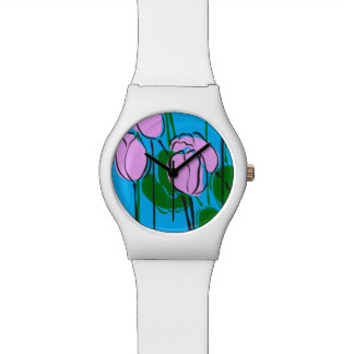 Hand Drawn Pink Tulips on Sky Blue Watch