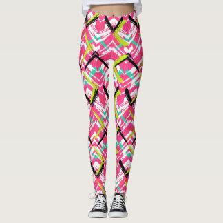 Hand Drawn Pink Zig Zag Pattern Leggings