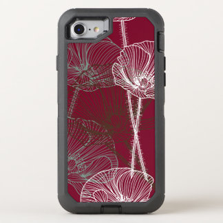 Hand Drawn Poppies on Red OtterBox Defender iPhone 7 Case