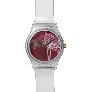 Hand Drawn Poppies on Red Watch