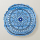 Hand Drawn Pretty Blue And White Mandala Flower Round Pillow