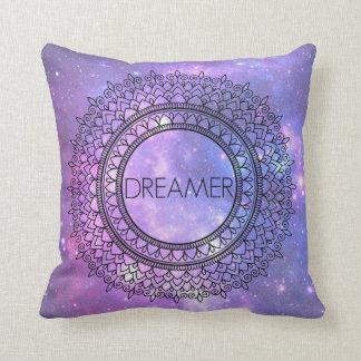 Hand Drawn Pretty Purple Galaxy Unique Mandala Art Throw Pillow