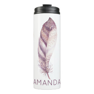 Hand drawn purple and pink  watercolor feather thermal tumbler
