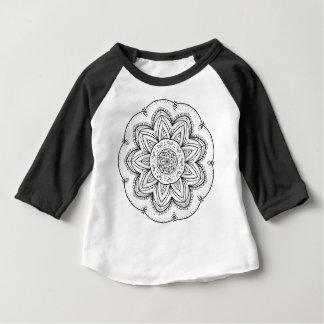 Hand Drawn Ribbon Mandala - Black & White Round Baby T-Shirt