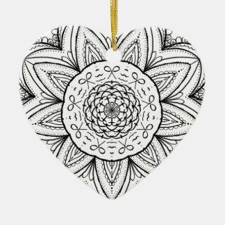 Hand Drawn Ribbon Mandala - Black & White Round Ceramic Heart Ornament