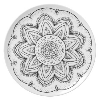 Hand Drawn Ribbon Mandala - Black & White Round Dinner Plate
