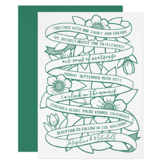 Hand-Drawn Ribbons & Flowers Arts & rafts Wedding Card