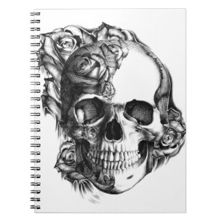 Hand drawn rose skull in black and white. notebooks