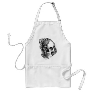 Hand drawn rose skull in black and white. standard apron